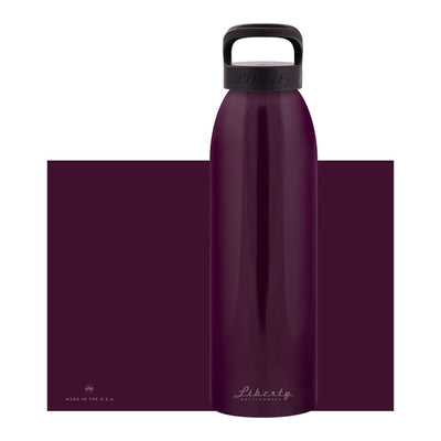 dark purple aluminum bottle with black lid and handle, 32 oz.