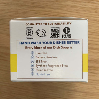 meliora lemon dish soap package with sustainability seals