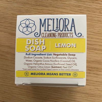 meliora lemon dish soap package with full ingredients list