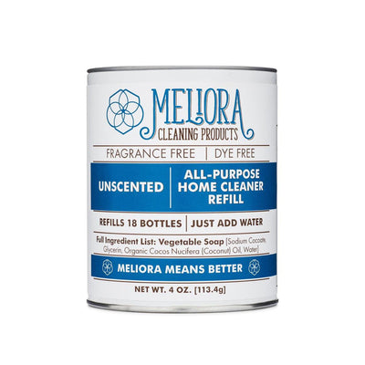 "meliora ""just add water"" can, white and blue"