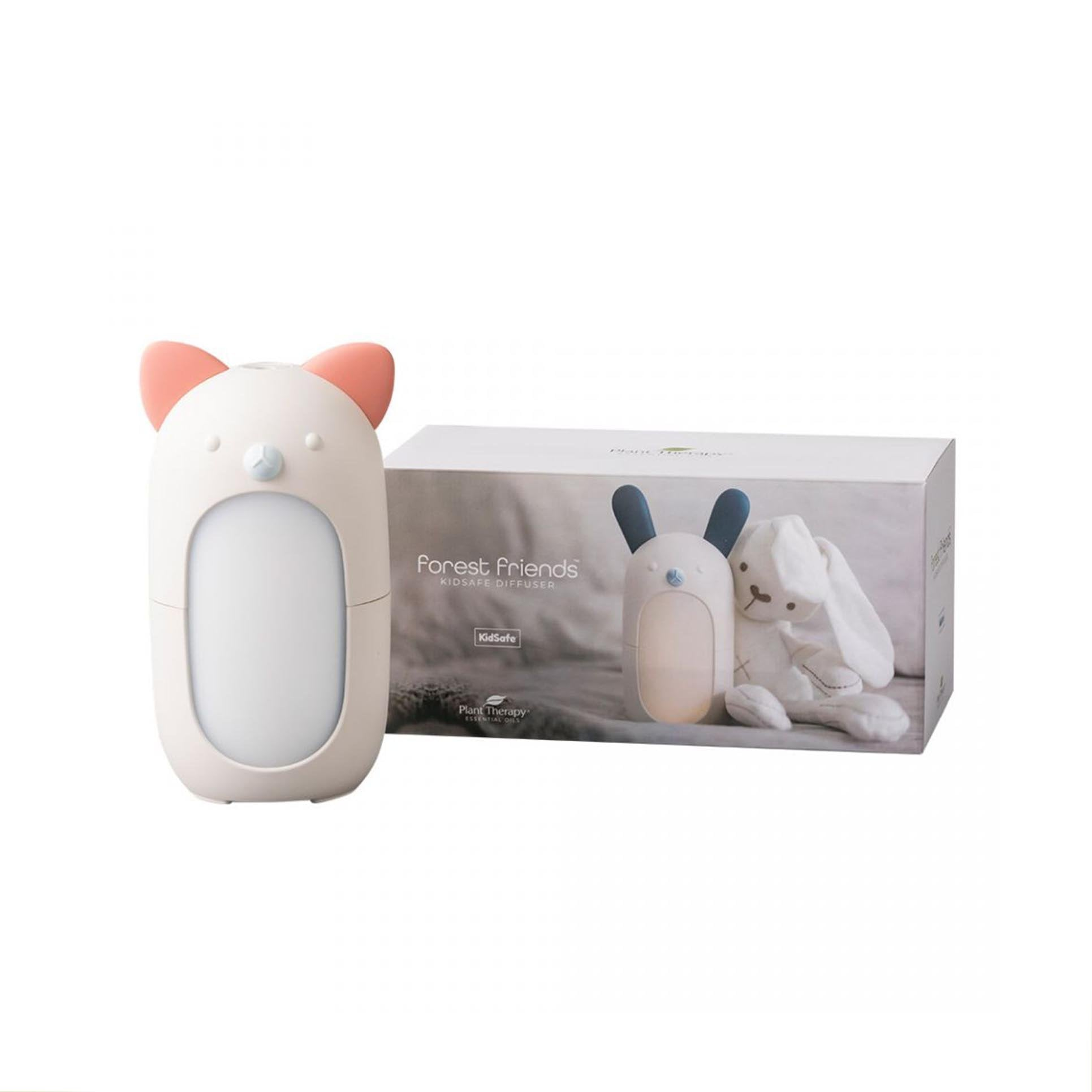 diffuser shaped like cat, next to product packaging featuring rabbit shaped diffuser