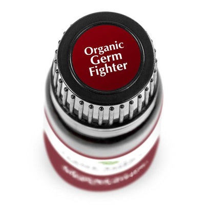 "birds eye view of 10 ml black bottle with red label. reads ""organic germ fighter"""