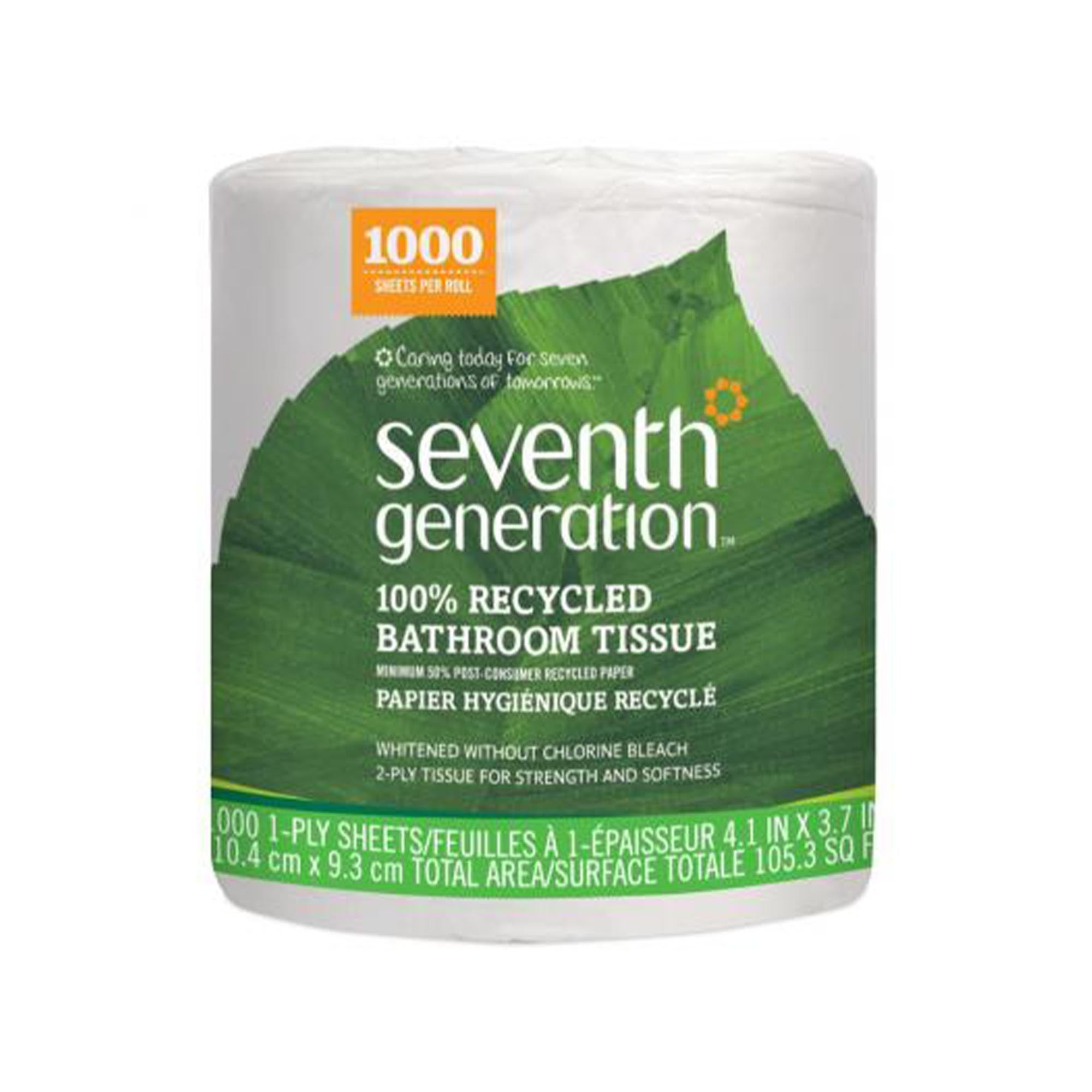 toilet paper, bathroom tissue, 100% recycled, 1000 sheets per roll, made in usa by Seventh Generation