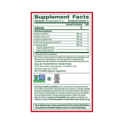 supplement facts for breathe easy tea by traditional medicinals