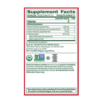 supplement facts for echinacea plus tea by traditional medicinals