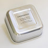 bottom view of square stainless steel container. fill volume 30 fl oz, tare weight 7.7 oz. dishwasher safe, not for use in microwave