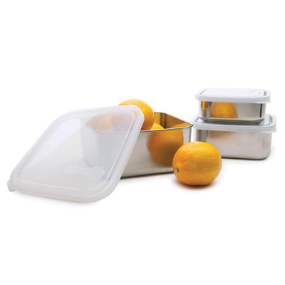 3 stainless steel containers with plastic lids, two smaller containers stacked, third filled with lemons and lid ajar.
