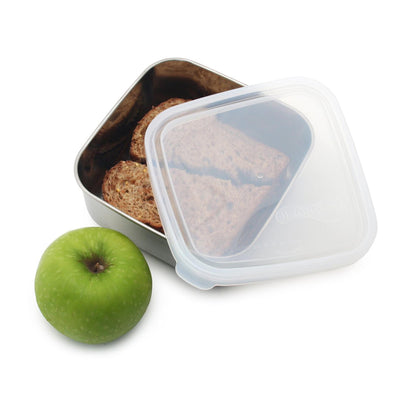 square stainless steel container with rounded corners and plastic lid ajar. container filled sandwich, green apple next to container
