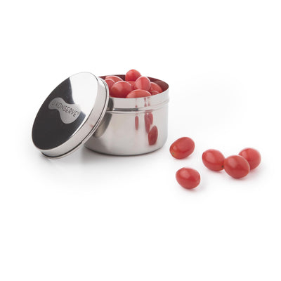 round stainless steel container with lid ajar, contains cherry tomatoes