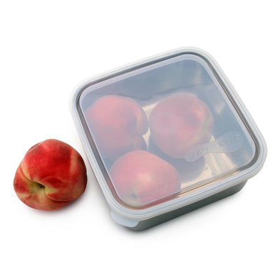 square stainless steel container with rounded corners and plastic lid. container filled with 3 peaches