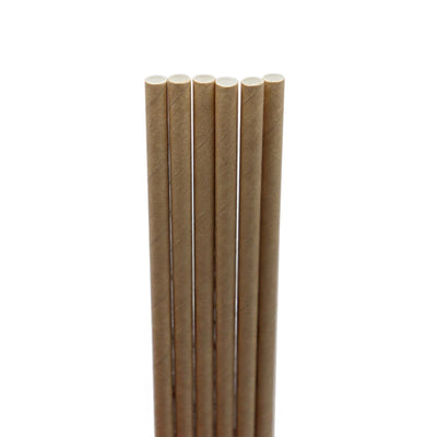 "6, 8"" paper straws. brown exterior with white interior"