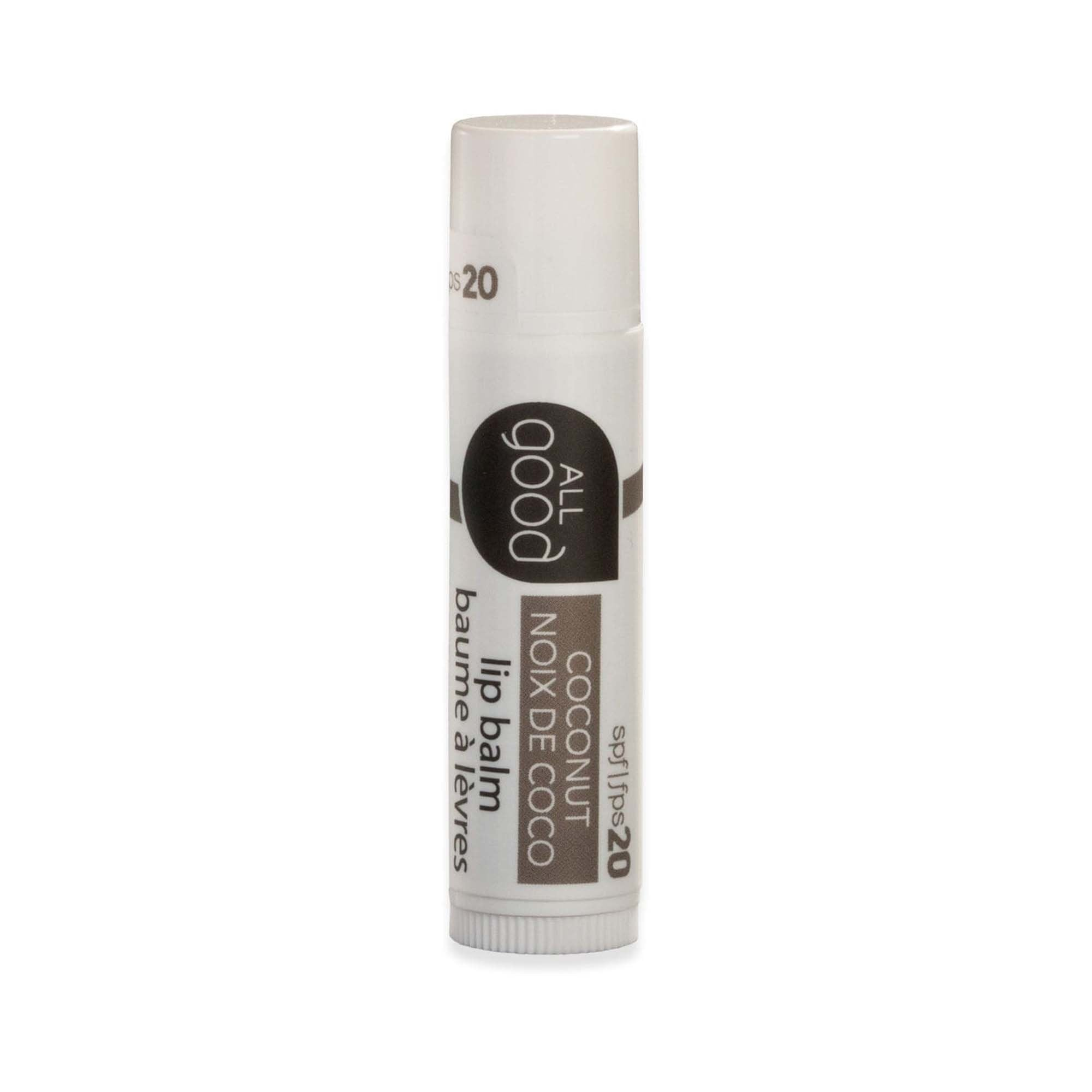 white and brown lip balm tube. 4.25 g. spf 20. coconut flavor