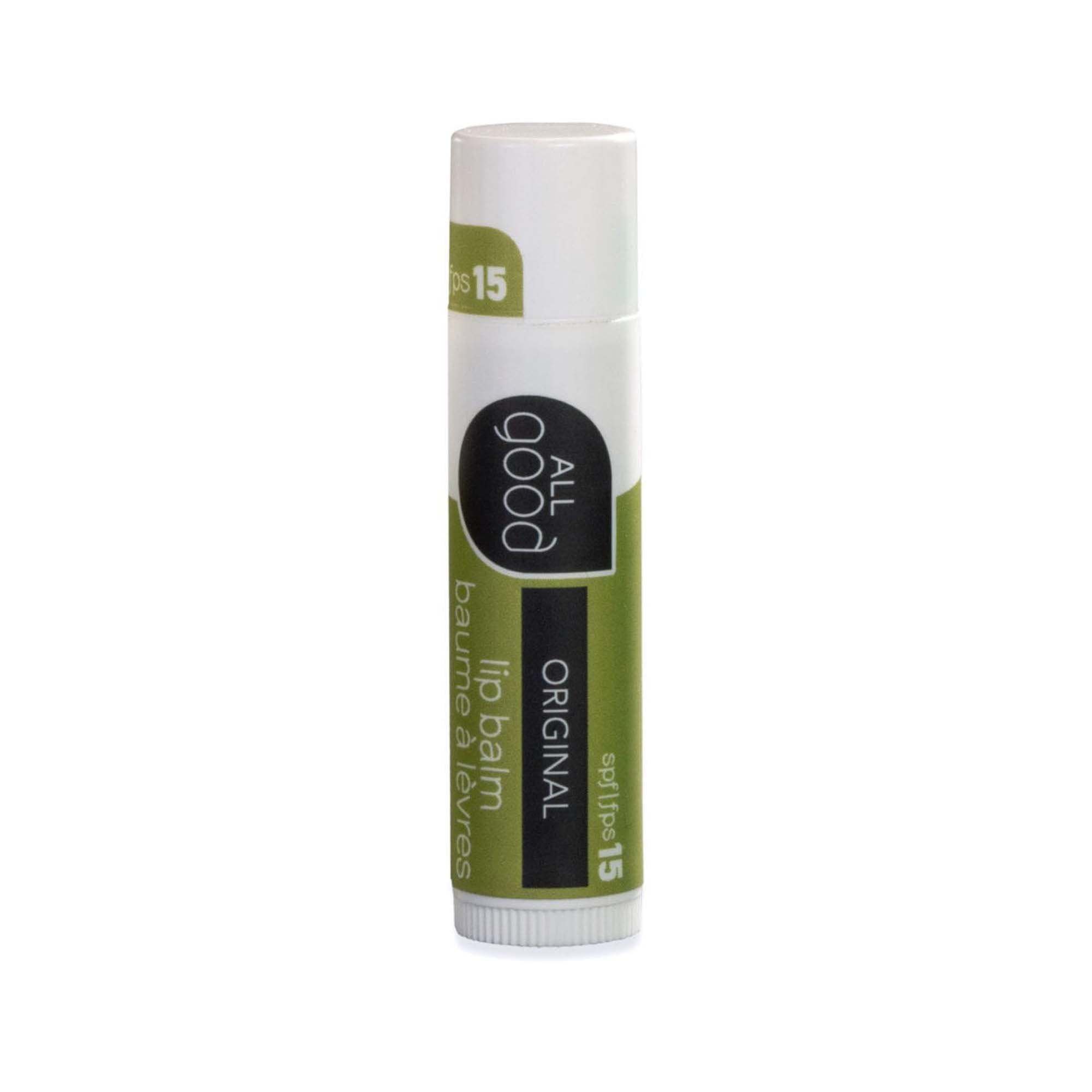 4.25g green and white tube of all good spf 15 lip balm. original flavor. white cap. white wheel on bottom to reveal/hide lib balm in tube