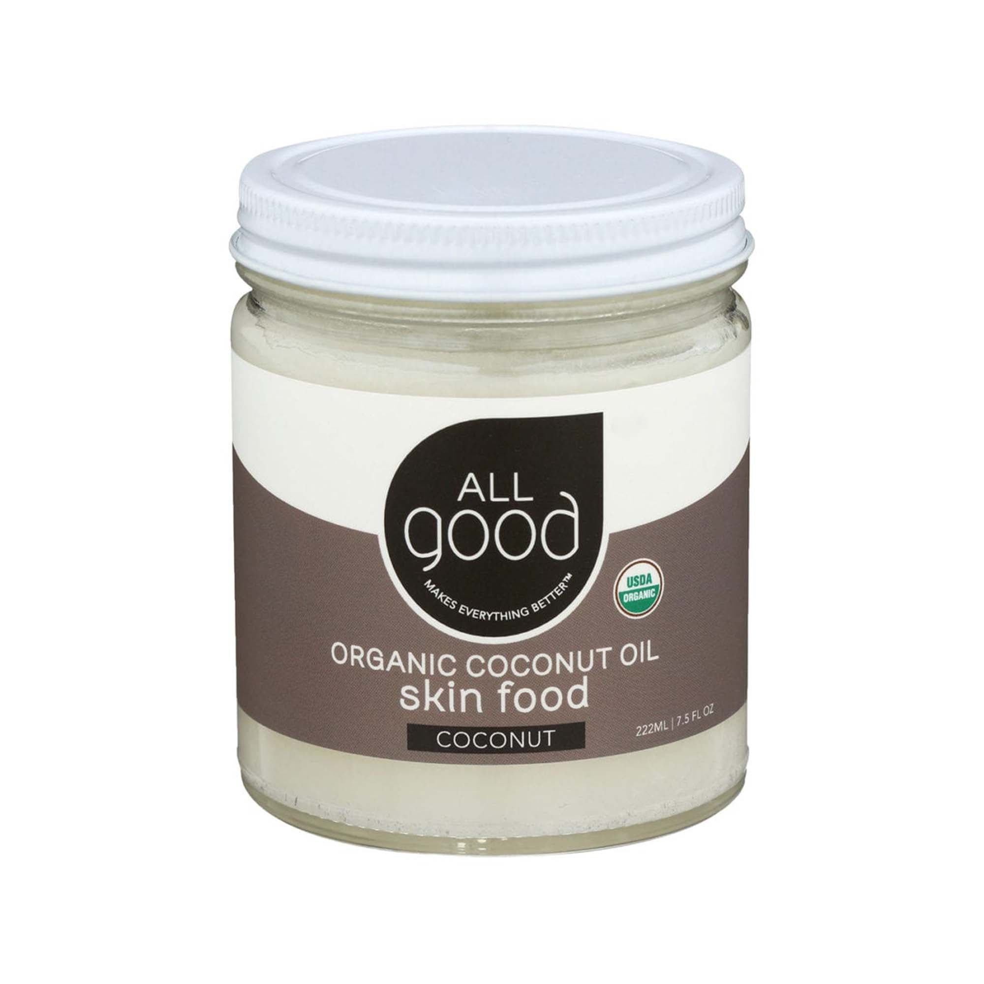 7.5 oz glass jar with white screw top lid. jar contains white coconut oil. usda organic logo visible.