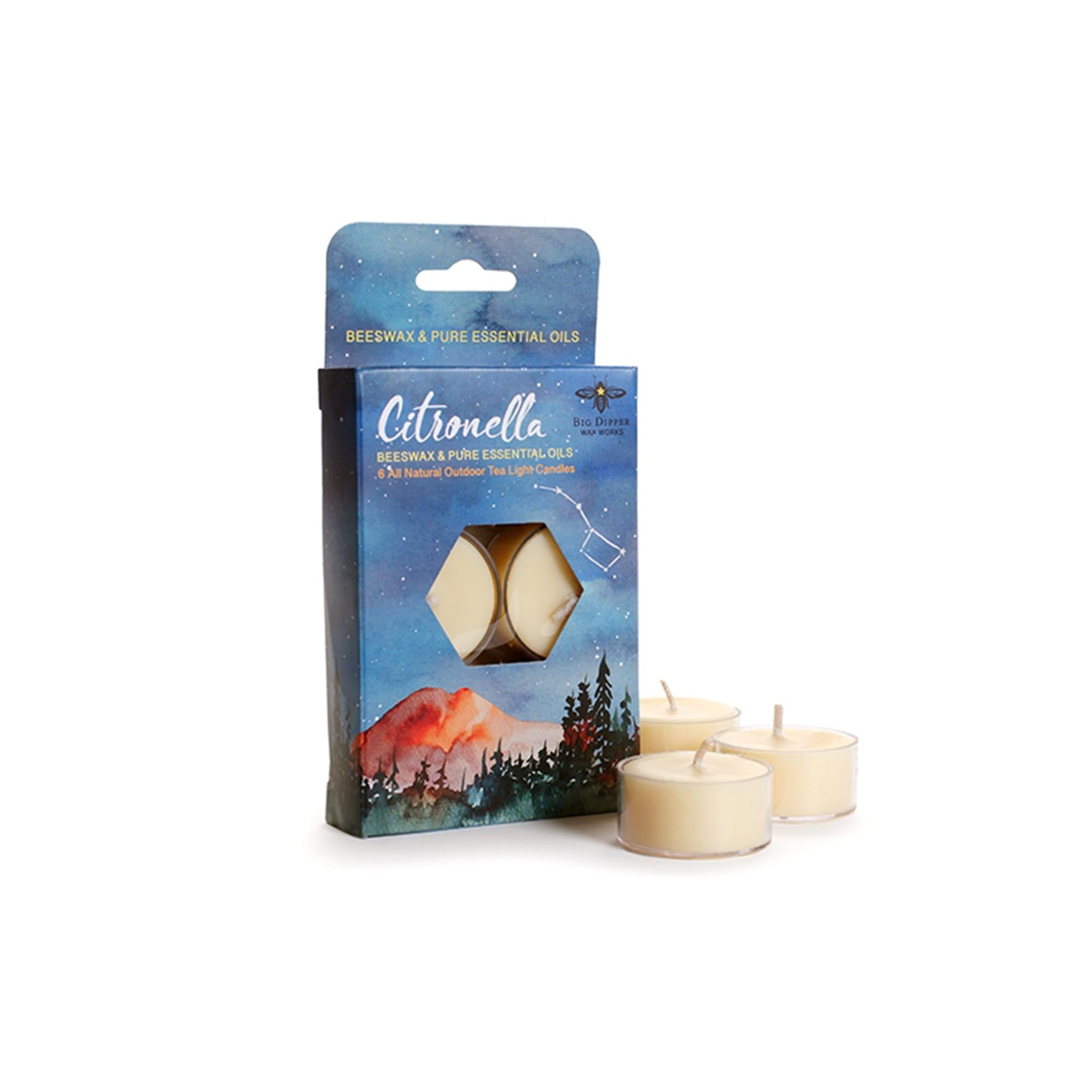 Citronella Tea Light Candles — Pure Beeswax & Soy