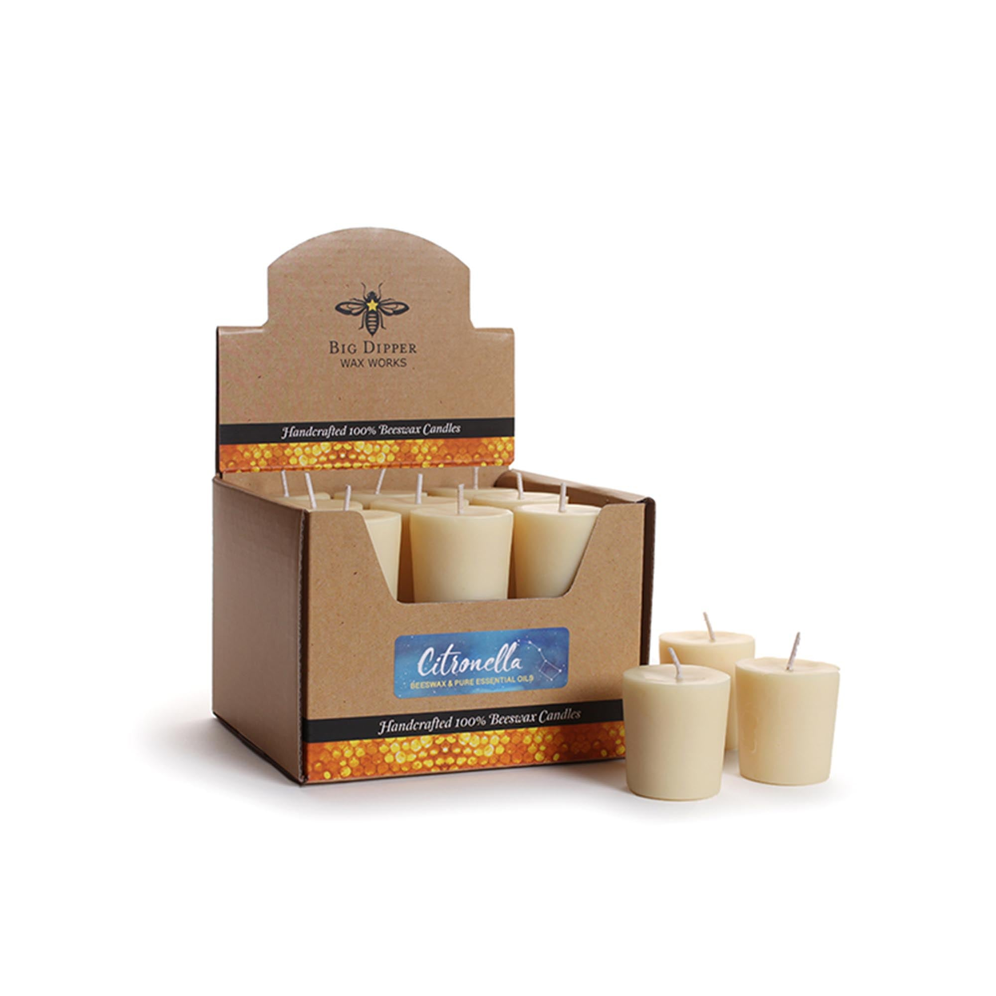 Box of several off-white citronella beeswax and soy votive candles