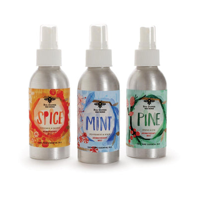 Three aluminum misters in spice, mint and pine scents