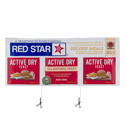 red white and blue package with red star logo and images of bread. two graphics of scissors indicating where to separate individual yeast packets