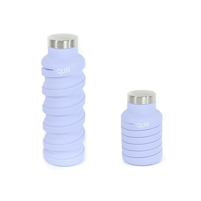 20 oz eco-bottle, lilac, left view extended, right view coiled/collapsed