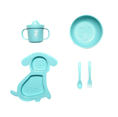 "5-piece teal Doggy Dinner Set on white backdrop. includes small fork and spoon, sippy cup with white dog silhouette and word ""ruff"". A plate shaped like a dog, and a bowl with a silhouette of a dog and the word ""ruff"""