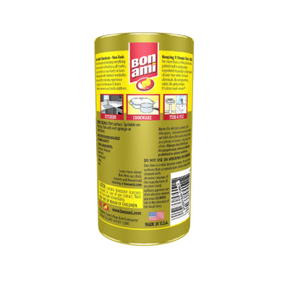 back of Bon Ami canister with directions on where and how to use product, as well as warnings. feature made in usa seal