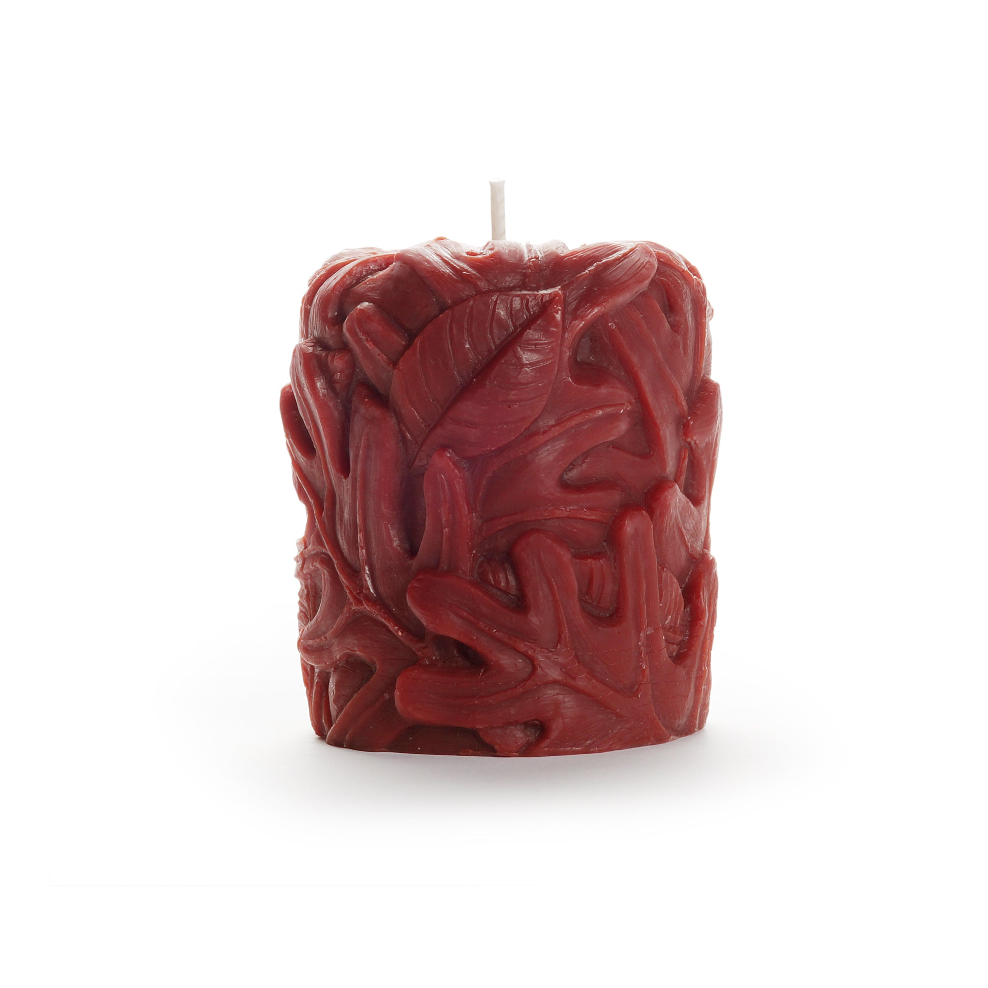 sculpted leaf design, pillar beeswax candle, dark red