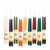long taper candles hung from wick, colors include Pumpkin, Natural, Moss, Red, Ivory, purple, Blue, Black, green