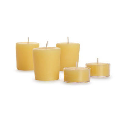 Set of 5 glass tea lights. various shapes, naturally colored and aromatic, infused with the sweet, subtle scent of honey.