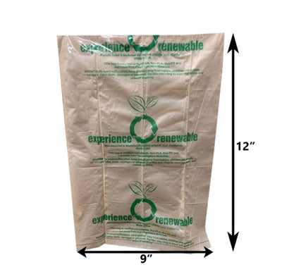 dimensions of pet waste bag, 9 inch width, 12 inch height. bags are translucent brown, with green recycling logo on front
