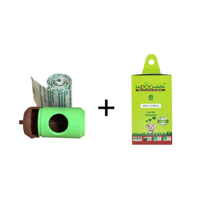 green dispenser with brown lid + 1 roll, and green cardboard 3 Roll Refill Pack.