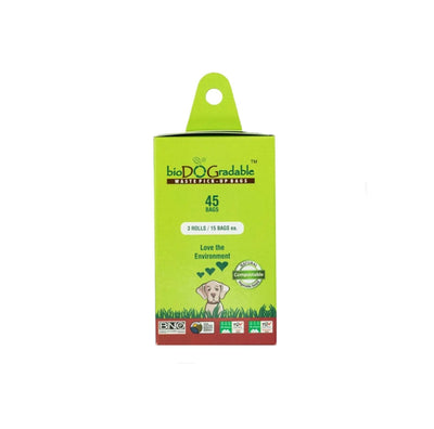 BioDOGradable Pet Waste  3 Roll Refill Pack. cardboard and green with natural compostable seal displayed on front