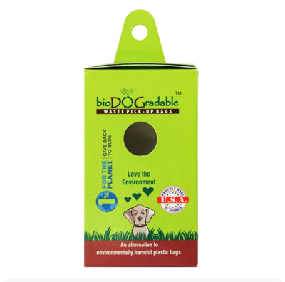 "waste pickup bag refill pack. green and cardboard, with ""proudly made in USA"" seal and cartoon dog with green hearts above it"