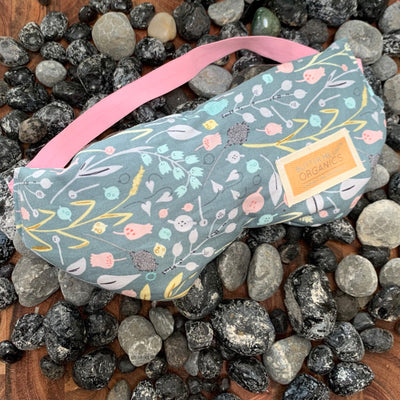 Organic flax seed eye mask, pink strap with blue floral design