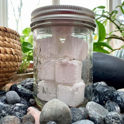 all natural toilet bombs, 10 white cubes in 16 oz. wide mouth mason jar.