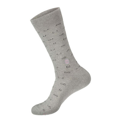grey sock with fine line breast designs