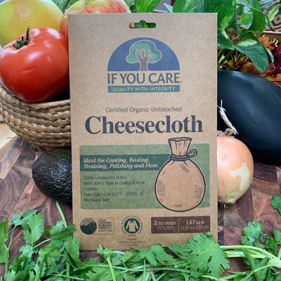 "cheese cloth in package, 2 square yards (72""x 36""), displayed in front of a variety of vegetables"