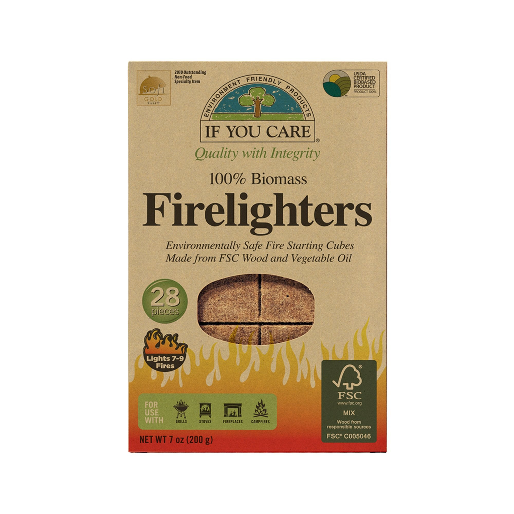 firelighters in package, 28 pieces, Net WT 7 oz