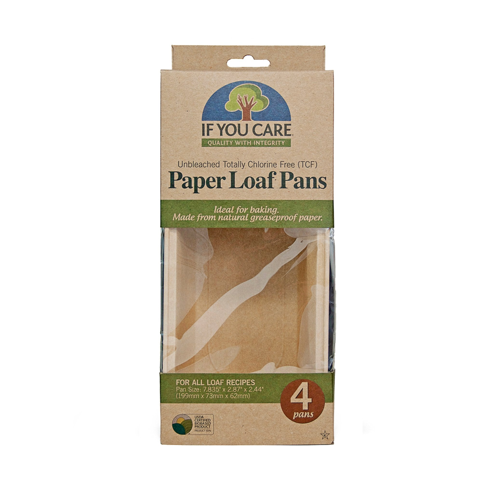 "paper loaf pans in package, 4 pans per, pan size 7.835"" x 2.87"" x 2.44"""