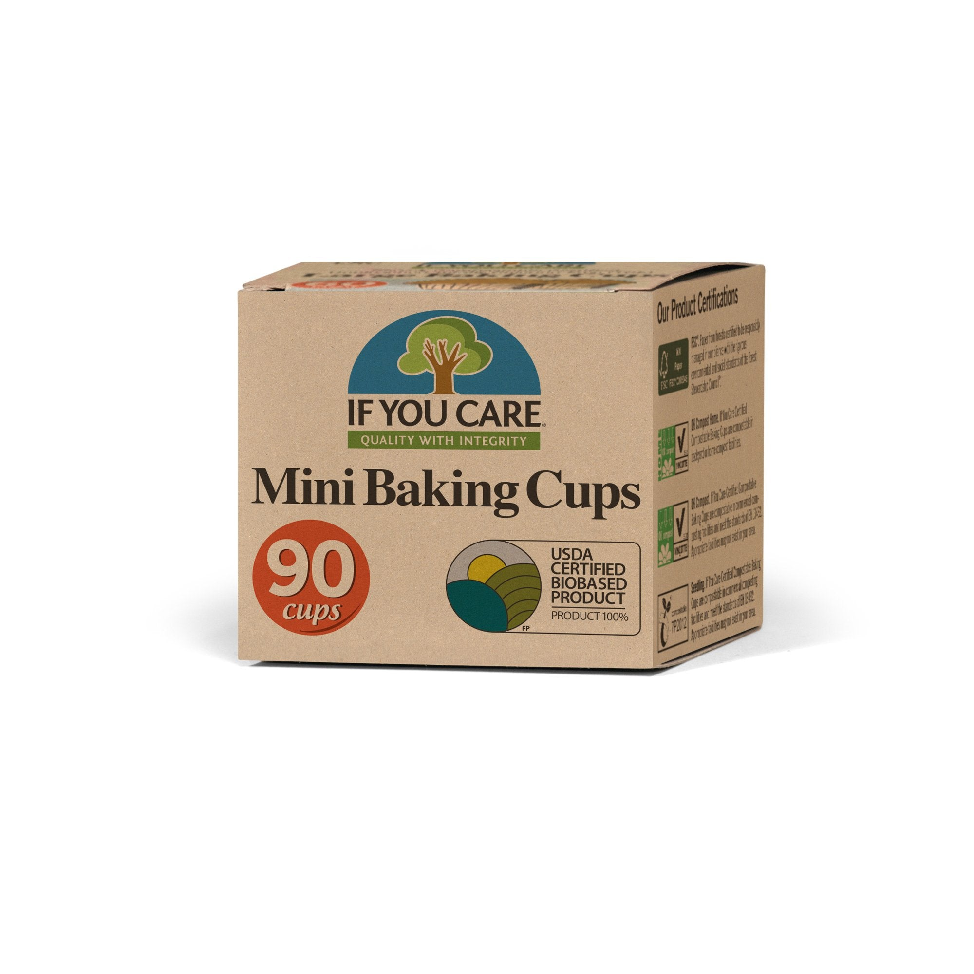 mini baking cups in package. 90 cups . usda certified biobased product seal