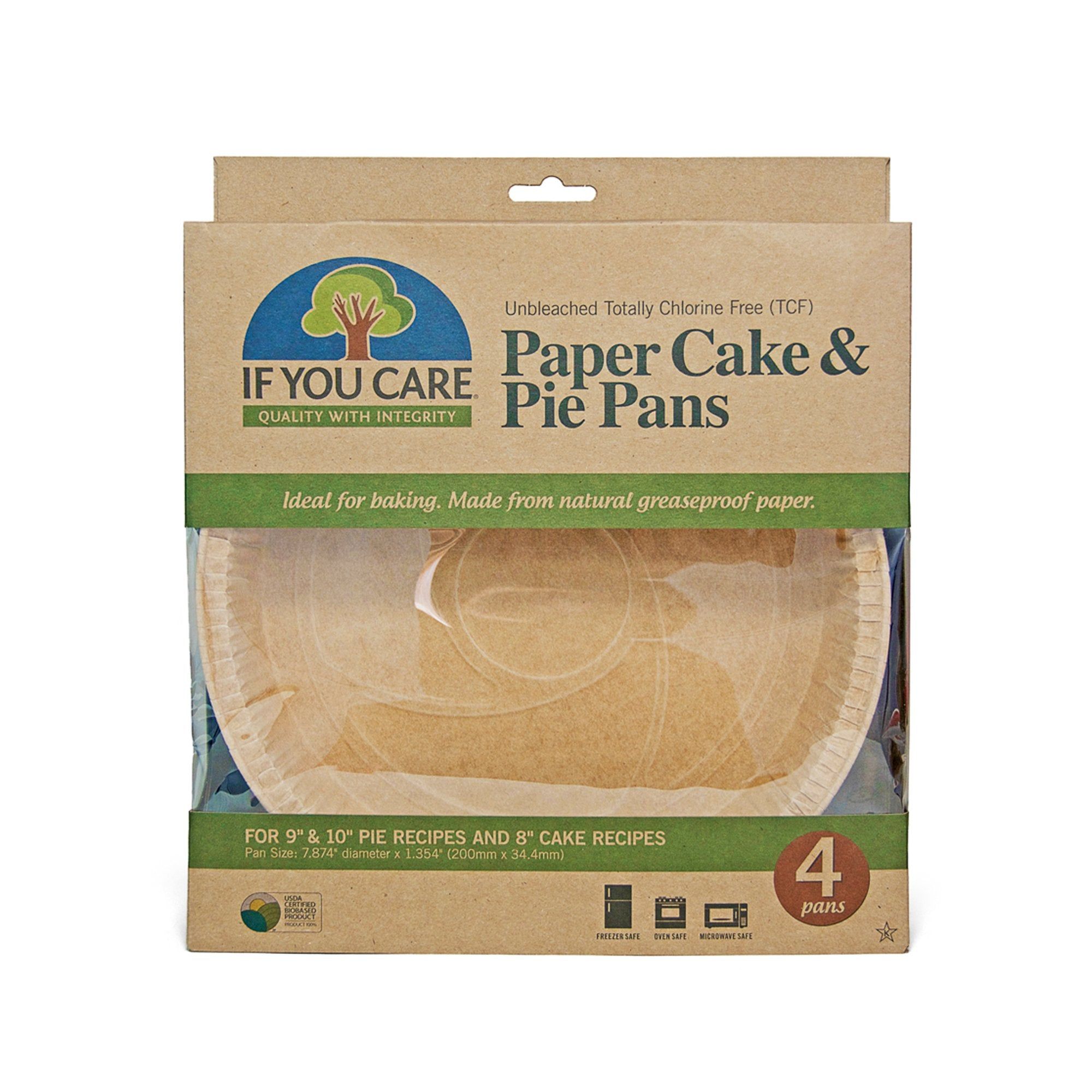 4 If You Care Paper Cake/Pie Pans in package. 9″ & 10″ pies and 8″ cake recipes