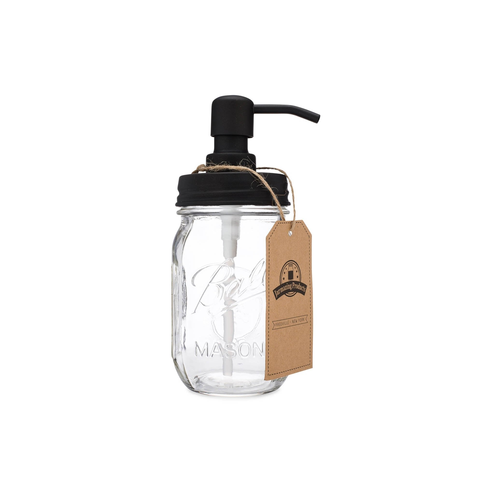 mason jar with black dispenser top lid and suction straw.