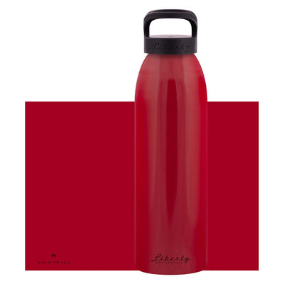 red aluminum bottle with black lid and handle, 32 oz.