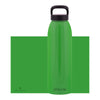green aluminum bottle with black lid and handle, 32 oz.