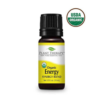 black bottle with yellow label. organic energy synergy essential oil blend 10 ml