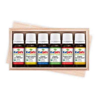 6, 10 mL essential oils in brown bottles with white lids in wooden box