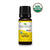 black bottle with yellow label. organic lemon essential oil blend. 10 ml