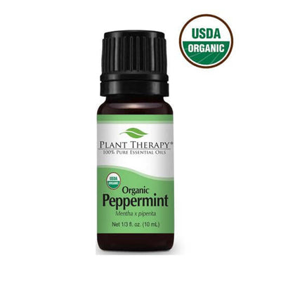 10 ml black bottle with green label. organic peppermint essential oil blend