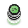 "birds eye view of 10 ml black bottle with green label. reads ""organic peppermint"""