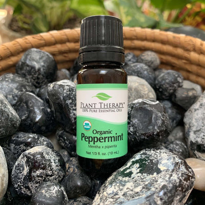 10 ml black bottle with green label. organic peppermint essential oil blend, displayed on assorted rocks