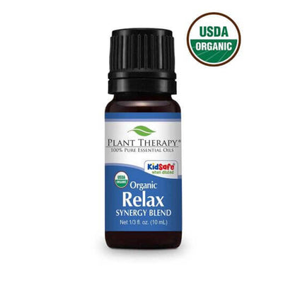 10 ml back bottle with blue label, organic relax synergy blend
